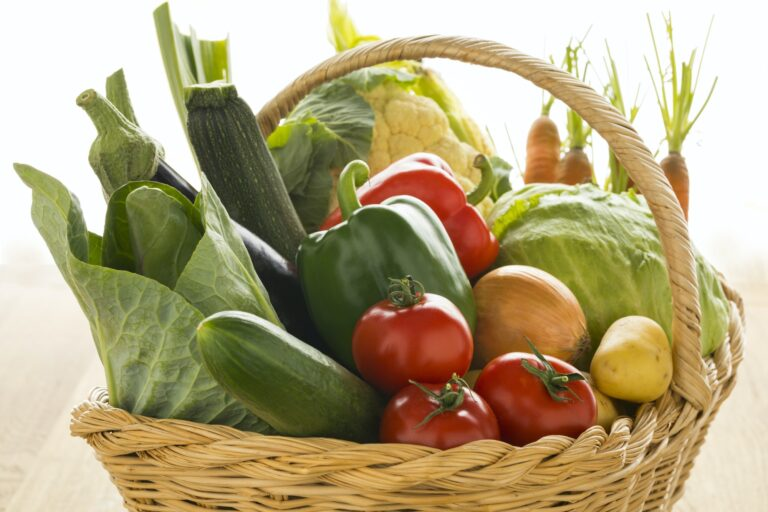 Basket with fresh organic vegetables