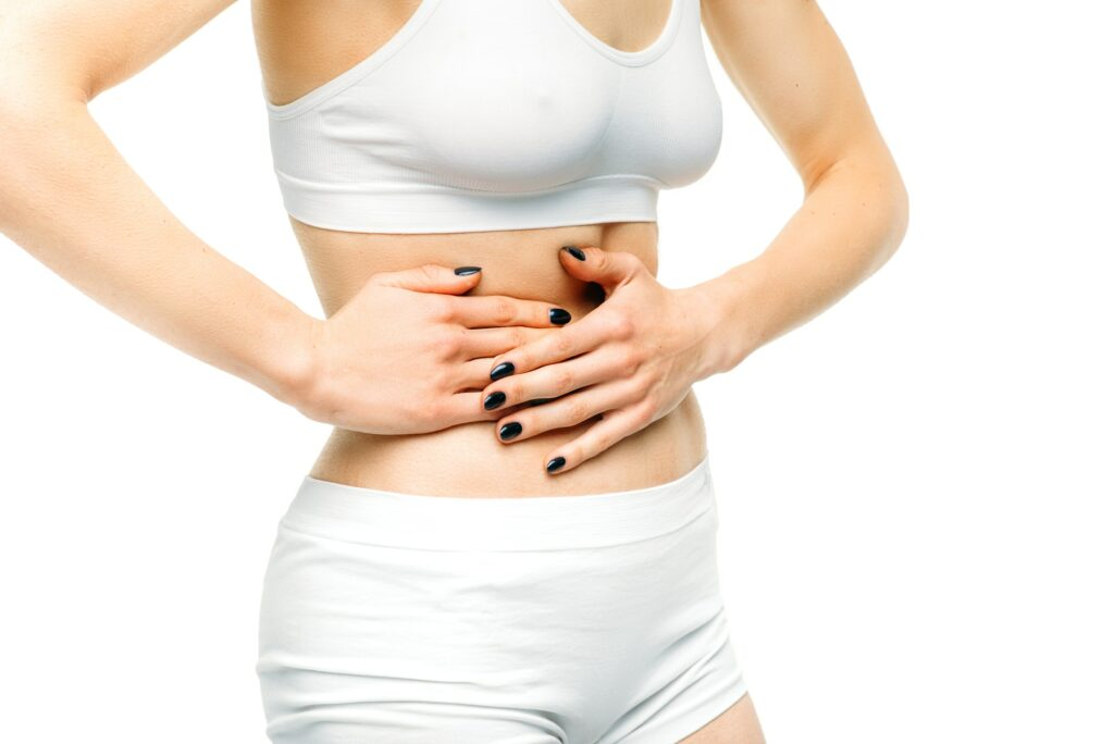 Liver pain, female person on white background